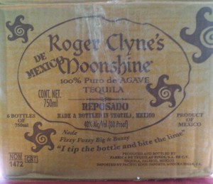 Lyrics on the shipping box of Roger Clyne's Mexican Moonshine.