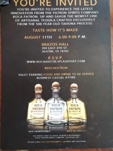 The Roca Patrón launch party invitation.